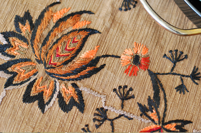 antique embroidered table cloth